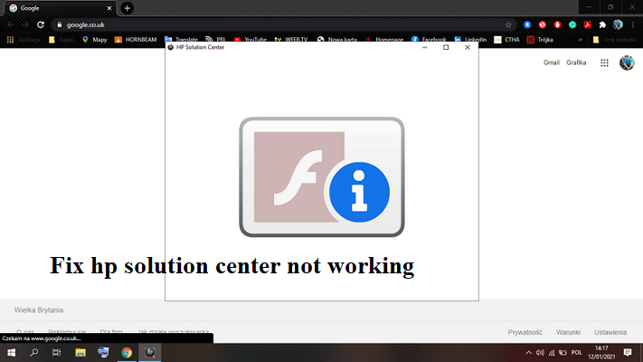 hp solution center not working