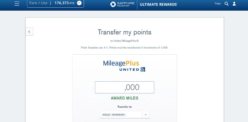 transfer chase points to united